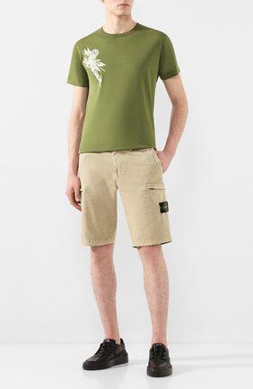 Мужская хлопковая футболка STONE ISLAND SHADOW PROJECT хаки цвета, арт. 721920110 | Фото 2