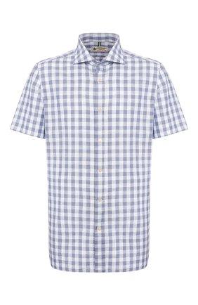Мужская рубашка изо льна и хлопка LUIGI BORRELLI синего цвета, арт. EV08/NAND0 SS/TS9191   Фото 1