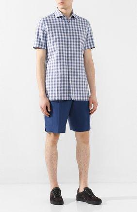 Мужская рубашка изо льна и хлопка LUIGI BORRELLI синего цвета, арт. EV08/NAND0 SS/TS9191   Фото 2