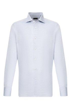 Мужская сорочка из смеси льна и хлопка ERMENEGILDO ZEGNA голубого цвета, арт. 701600/9MS0BA | Фото 1
