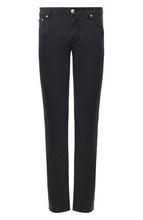 Мужские хлопковые брюки JACOB COHEN темно-синего цвета, арт. J620 C0MF 06510-V/53 | Фото 1 (Материал внешний: Хлопок; Длина (брюки, джинсы): Стандартные; Случай: Повседневный; Стили: Кэжуэл)