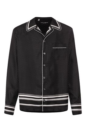 Мужская шелковая сорочка DOLCE & GABBANA черно-белого цвета, арт. G5GY4T/FI1KF | Фото 1