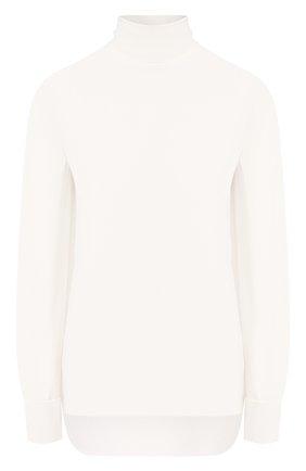 Женская блузка ADAM LIPPES белого цвета, арт. R20117SB | Фото 1 (Длина (для топов): Стандартные; Материал внешний: Синтетический материал; Рукава: Длинные; Статус проверки: Проверена категория; Силуэт Ж (для верхов): Приталенный; Стили: Классический; Принт: Без принта; Женское Кросс-КТ: Блуза-одежда)