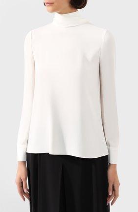 Женская блузка ADAM LIPPES белого цвета, арт. R20117SB   Фото 3 (Рукава: Длинные; Принт: Без принта; Материал внешний: Синтетический материал; Длина (для топов): Стандартные; Стили: Классический; Силуэт Ж (для верхов): Приталенный; Женское Кросс-КТ: Блуза-одежда; Статус проверки: Проверена категория)