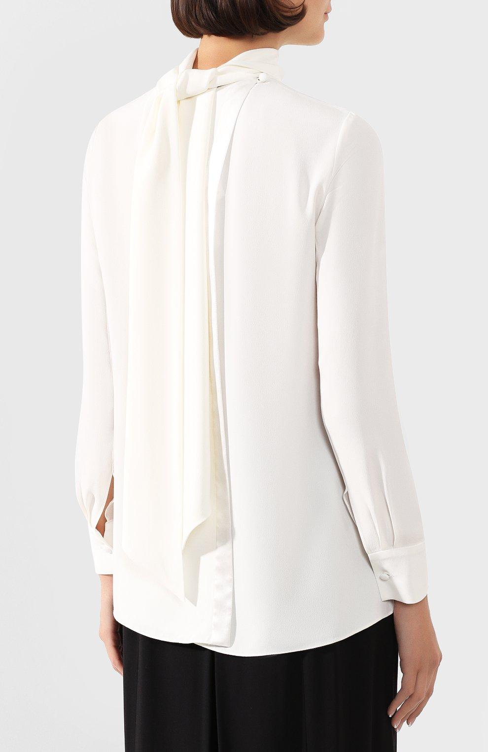 Женская блузка ADAM LIPPES белого цвета, арт. R20117SB   Фото 4 (Рукава: Длинные; Принт: Без принта; Материал внешний: Синтетический материал; Длина (для топов): Стандартные; Стили: Классический; Силуэт Ж (для верхов): Приталенный; Женское Кросс-КТ: Блуза-одежда; Статус проверки: Проверена категория)