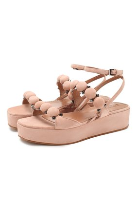 Женские замшевые сандалии ALAIA бежевого цвета, арт. AS3X568CC16   Фото 1