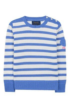 Детский хлопковый пуловер POLO RALPH LAUREN голубого цвета, арт. 312787234 | Фото 1