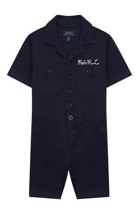 Детский хлопковый комбинезон POLO RALPH LAUREN синего цвета, арт. 321785730 | Фото 1