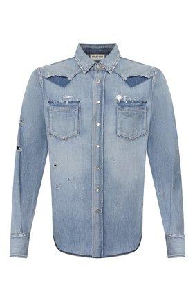 Мужская джинсовая рубашка SAINT LAURENT голубого цвета, арт. 601702/Y880G | Фото 1