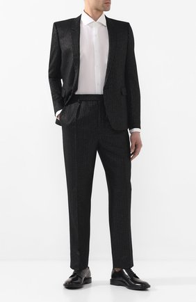 Мужской шерстяные брюки SAINT LAURENT черного цвета, арт. 596936/Y1A89 | Фото 2