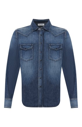 Мужская джинсовая рубашка SAINT LAURENT синего цвета, арт. 498101/Y880L | Фото 1
