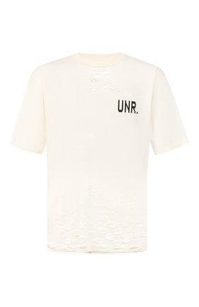 Мужская хлопковая футболка BEN TAVERNITI UNRAVEL PROJECT белого цвета, арт. UMAA004S20JER0050410 | Фото 1