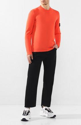 Мужской хлопковый джемпер STONE ISLAND оранжевого цвета, арт. 7215517B3 | Фото 2