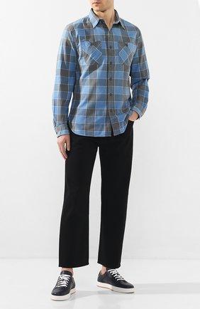 Мужская хлопковая рубашка RRL синего цвета, арт. 782782394 | Фото 2