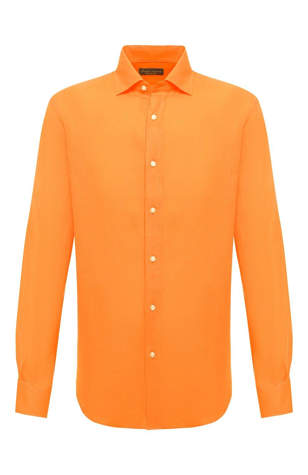 Мужская льняная рубашка RALPH LAUREN оранжевого цвета, арт. 790587253   Фото 1