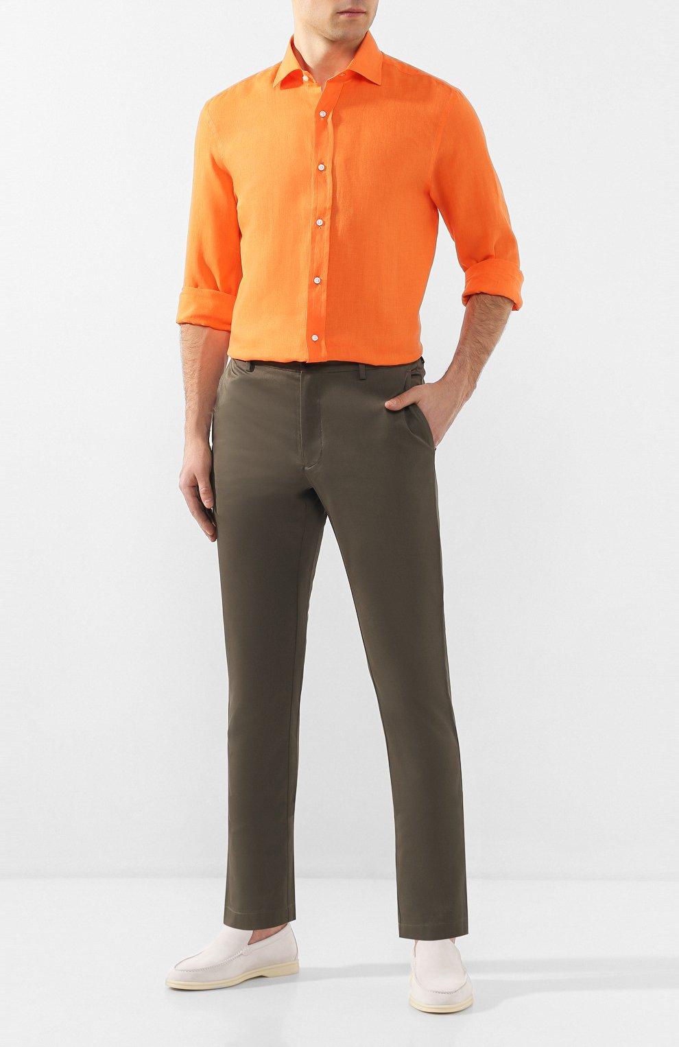 Мужская льняная рубашка RALPH LAUREN оранжевого цвета, арт. 790587253   Фото 2