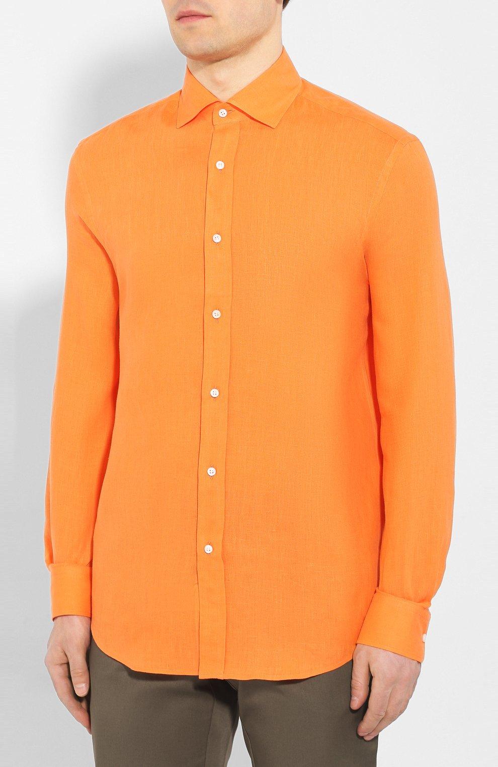 Мужская льняная рубашка RALPH LAUREN оранжевого цвета, арт. 790587253   Фото 3