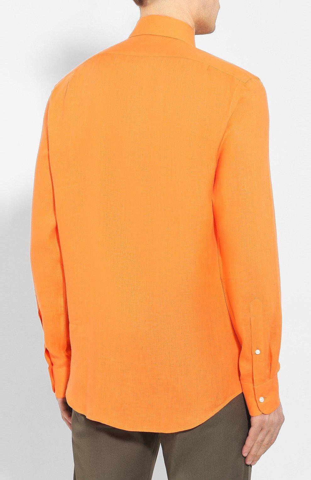 Мужская льняная рубашка RALPH LAUREN оранжевого цвета, арт. 790587253   Фото 4