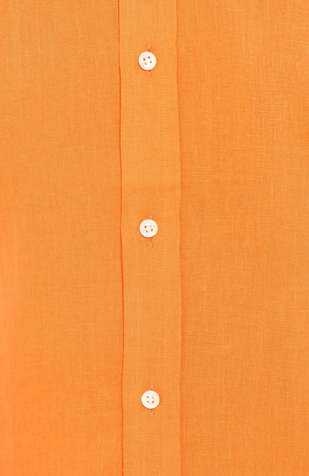 Мужская льняная рубашка RALPH LAUREN оранжевого цвета, арт. 790587253   Фото 5