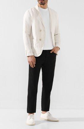 Мужской льняные брюки TRANSIT черного цвета, арт. CFUTRKD131   Фото 2
