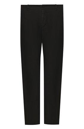 Мужской брюки из смеси льна и хлопка TRANSIT черного цвета, арт. CFUTRKD130   Фото 1