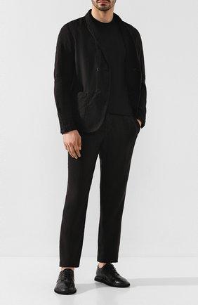 Мужской брюки из смеси льна и хлопка TRANSIT черного цвета, арт. CFUTRKD130   Фото 2