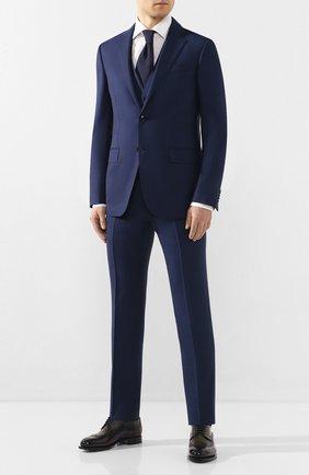 Мужской костюм-тройка из смеси шерсти и шелка ERMENEGILDO ZEGNA темно-синего цвета, арт. 716563/321225 | Фото 1