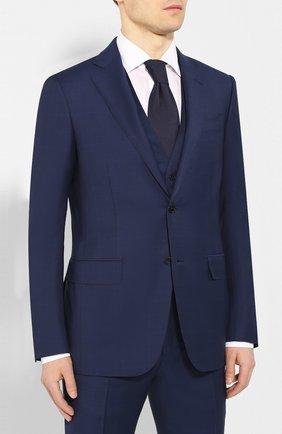 Мужской костюм-тройка из смеси шерсти и шелка ERMENEGILDO ZEGNA темно-синего цвета, арт. 716563/321225 | Фото 2