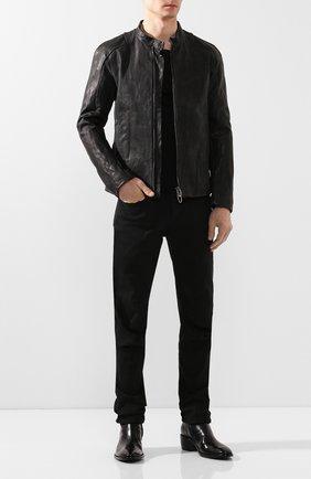 Мужская кожаная куртка DANIELE BASTA черного цвета, арт. DB580X01X02/AGAMENN0NE | Фото 2