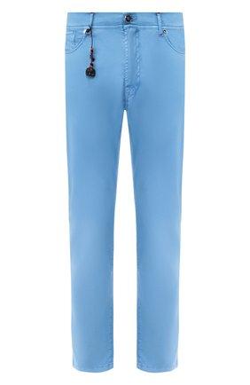 Мужской брюки из смеси хлопка и шелка MARCO PESCAROLO голубого цвета, арт. NERAN0M18/4104 | Фото 1