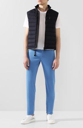 Мужской брюки из смеси хлопка и шелка MARCO PESCAROLO голубого цвета, арт. NERAN0M18/4104 | Фото 2