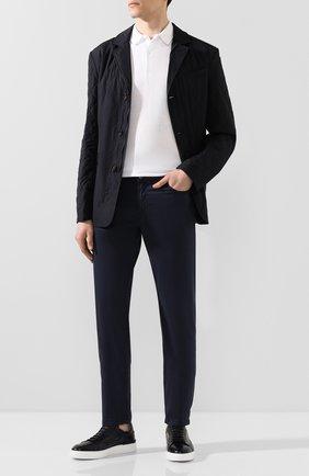 Мужской брюки из смеси хлопка и шелка MARCO PESCAROLO синего цвета, арт. NERAN0M18/4104 | Фото 2