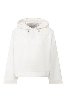 Женская хлопковое худи MONCLER белого цвета, арт. F1-093-8G707-10-V8036 | Фото 1
