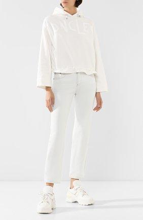 Женская хлопковое худи MONCLER белого цвета, арт. F1-093-8G707-10-V8036 | Фото 2