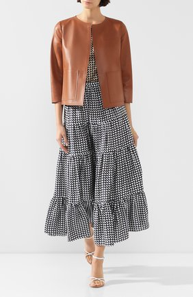Женский кожаный жакет KITON бежевого цвета, арт. D49572X08S55 | Фото 2