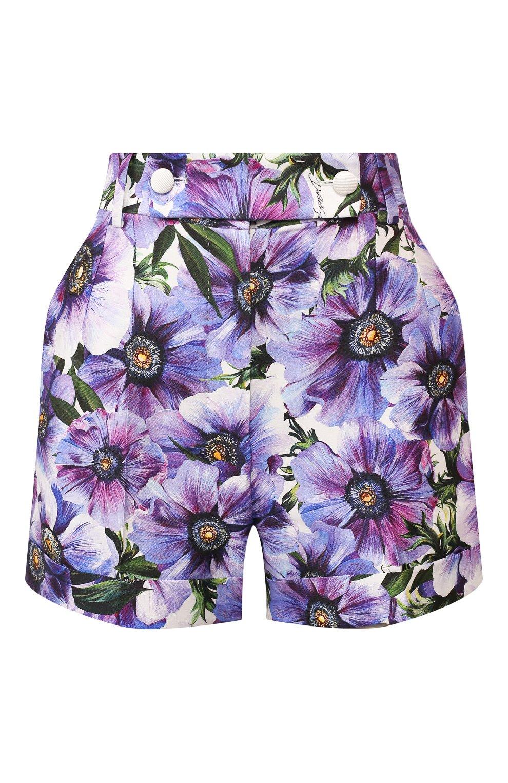Женские шорты из смеси хлопка и шелка DOLCE & GABBANA сиреневого цвета, арт. FTBPZT/HSM2W   Фото 1