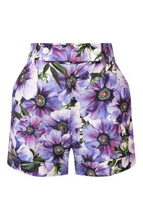 Женские шорты из смеси хлопка и шелка DOLCE & GABBANA сиреневого цвета, арт. FTBPZT/HSM2W | Фото 1