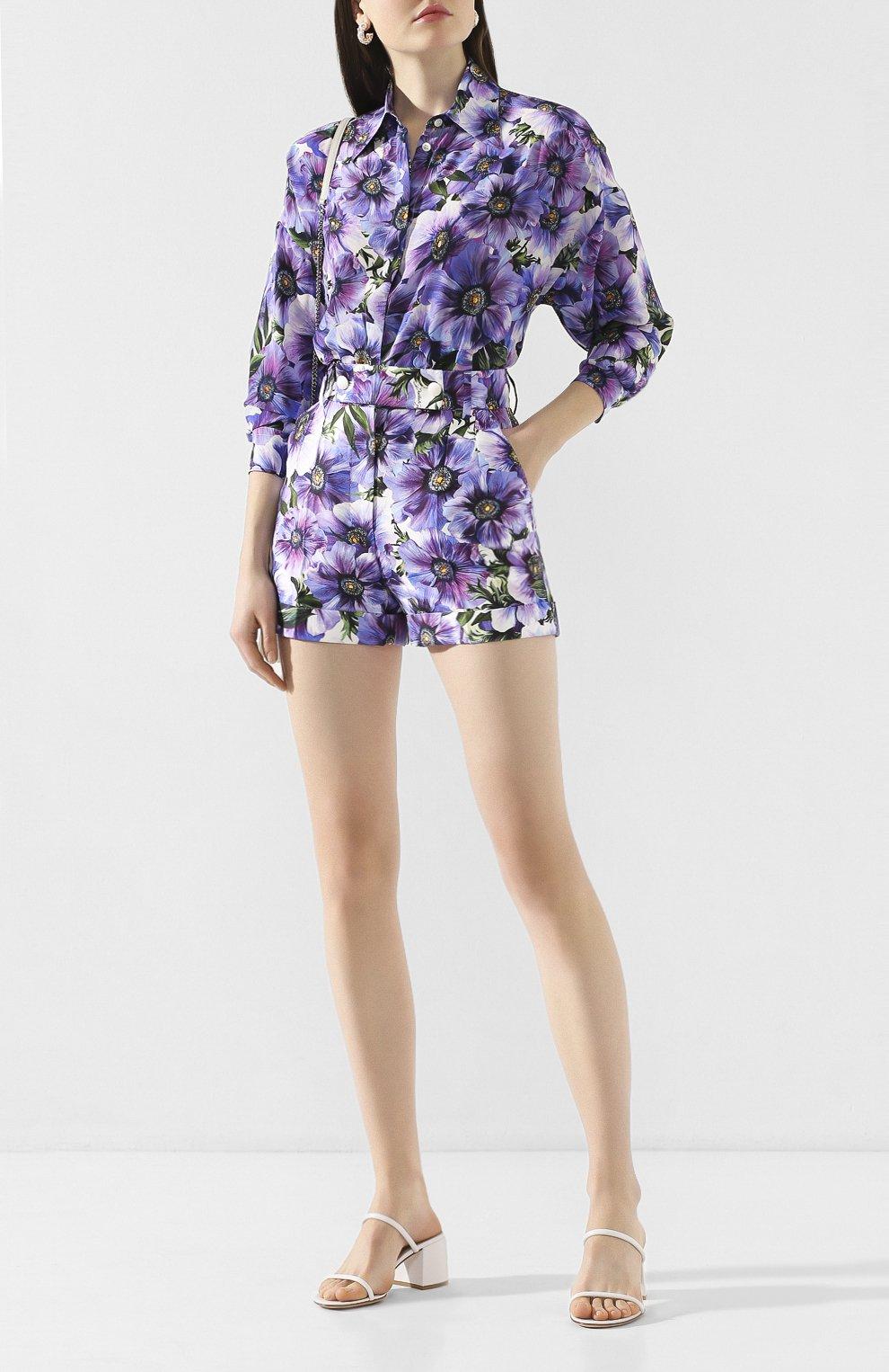 Женские шорты из смеси хлопка и шелка DOLCE & GABBANA сиреневого цвета, арт. FTBPZT/HSM2W   Фото 2