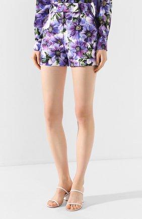 Женские шорты из смеси хлопка и шелка DOLCE & GABBANA сиреневого цвета, арт. FTBPZT/HSM2W   Фото 3
