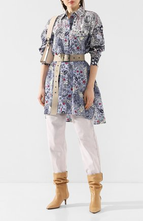Женская хлопковая рубашка ISABEL MARANT ETOILE голубого цвета, арт. HT1668-20P026E/USSAYA   Фото 2