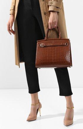 Женская сумка rl50 large из кожи аллигатора RALPH LAUREN бежевого цвета, арт. 435769042/AMIS | Фото 2