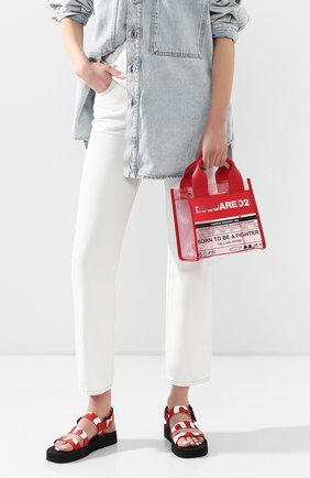 Женская сумка-шопер DSQUARED2 красного цвета, арт. SPW0024 35702583 | Фото 2