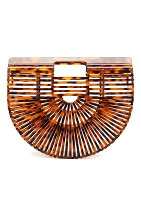 Женская сумка ark small CULT GAIA темно-коричневого цвета, арт. 20003AC TRT   Фото 1 (Материал: Текстиль; Размер: small; Сумки-технические: Сумки через плечо, Сумки top-handle)