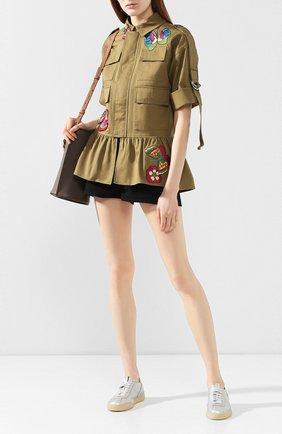 Женские кожаные кеды SANTONI серебряного цвета, арт. WBGY60680TIALI0XD60 | Фото 2