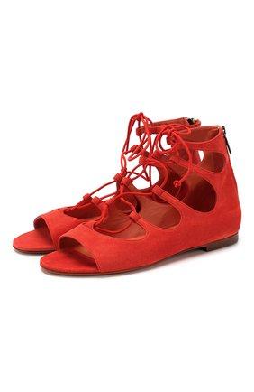 Женские замшевые сандалии SANTONI красного цвета, арт. WHB058696HI1CMGDR50 | Фото 1