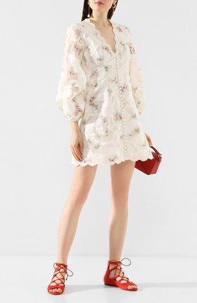 Женские замшевые сандалии SANTONI красного цвета, арт. WHB058696HI1CMGDR50 | Фото 2