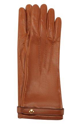 Женские кожаные перчатки BURBERRY коричневого цвета, арт. 8024974 | Фото 1