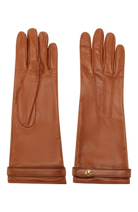 Женские кожаные перчатки BURBERRY коричневого цвета, арт. 8024974 | Фото 2