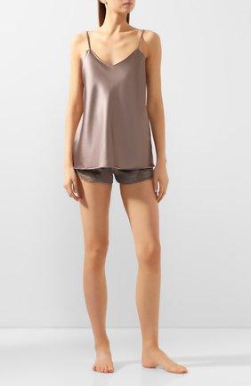 Женская шелковый топ COTTON CLUB коричневого цвета, арт. 7ZM | Фото 2
