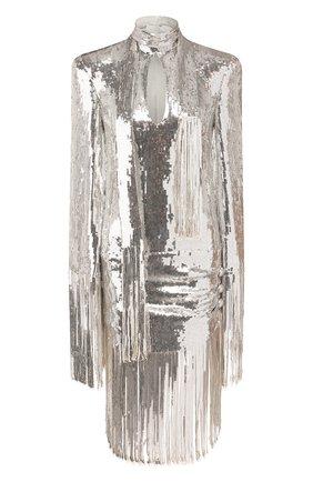 Женское платье с пайетками BALMAIN серебряного цвета, арт. TF16244/X347   Фото 1